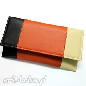 Prezent Kopertówka - czarny rudy beż, elegancka, nowoczesna, wesele, prezent