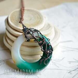 circle - duży wisior z okrągłym agatem, naszyjnik wisiorem