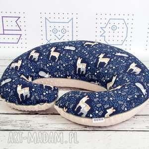 handmade dla dziecka duża poduszka do karmienia -sarenki granat