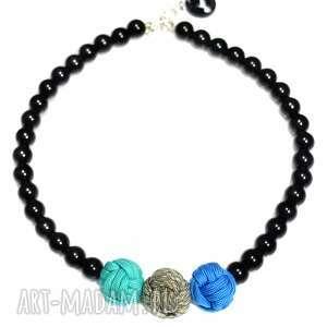 q-lki no 6 - nowoczesny, naszyjnik, korale, kulki, perły, sportowy