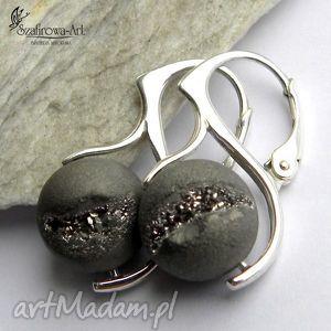 kolczyki druza srebra, agat, druza, srebro, eleganckie