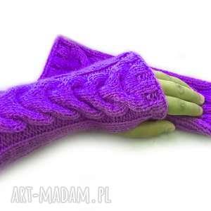 Fioletowe Wełniane Mitenki - rękawiczki bez palców, warkocze