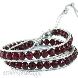 Snake Wrap: Agat fuksja, bransoletka, agat, kamienie, rzemień, srebro