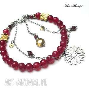 Astry vol. 2 - bransoletka, jadeity, srebro, kamienie, romantyczna, kwiaty