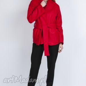 wełniany płaszczyk, za115 czerwony - wiązany, czerwony, kieszenie, casual