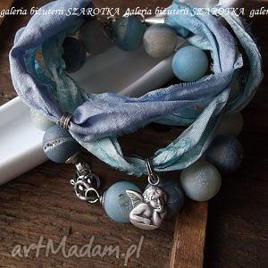 bransoletki prywatny kawałek nieba zestaw bransoletek z agatów, jedwabiu i srebra