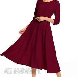 Elegancka sukienka maxi z zamkiem krytym, t327, burgundowa