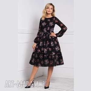 sukienka lena midi adelajda, w kwiaty, czarna sukienka