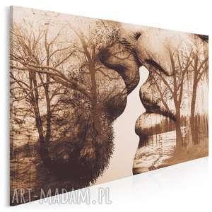 obraz na płótnie - pocałunek drzewa 120x80 cm 29502, pocałunek, para