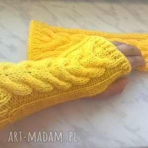 mitenki rękawiczki wełniane żółte, akryl, ręcznie, ocieplacze