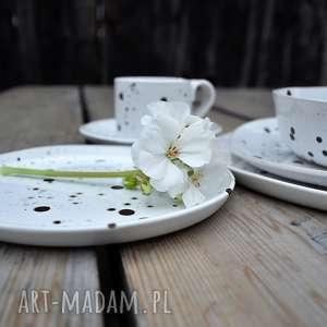 handmade ceramika komplet naczyń nakrapianych - 6 elementów