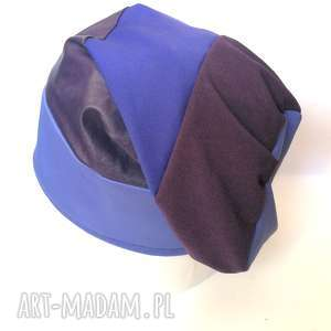 czapka duża smerfetka niebiesko-fioletowa - czapka, wisząca, smerfetka, etno