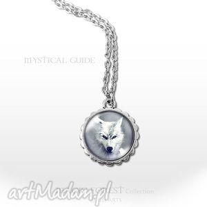 medalion, naszyjnik - biały wilk - mały - naszyjnik, medalion, wilk, wilkiem