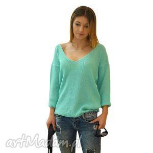 Sweter MODERN | Miętowy, sweter, dekolt, serek