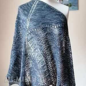 burzowe niebo wełniana chusta, rękodzieło, chusta na drutach, ręcznie wykonana
