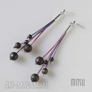 kolczyki ultra violet, nowoczesne, eleganckie, długie, linki, prezent, sztyfty
