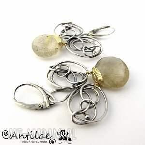 ręcznie robione kolczyki rutilo - kwarc rutylowy, srebro