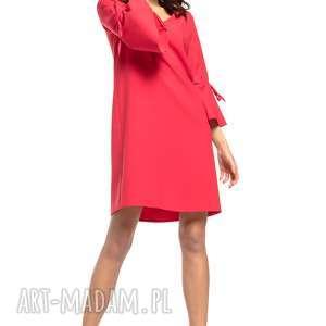 sukienki sukienka z falbanką przy rękawie dekoltem v, t273, czerwony, prosta