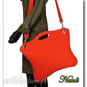 Oryginalna, uniwersalna duża czerwona torba, torebka, filc, laptop, kobieta