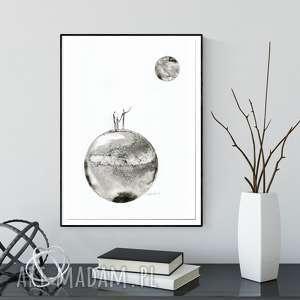 obraz A3 namalowany ręcznie, minimalizm, abstrakcja czarno-biała