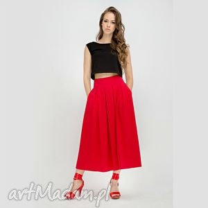 7 8 skirt spódnica z kontrafałdami i kieszeniami, spódnica, dzianina spódnice