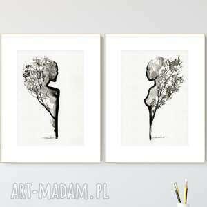 zestaw 2 grafik a4 wykonanych ręcznie, grafika czarno-biała, abstrakcja, 2517727