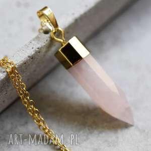 ♥ Różowy kwarc pozłacany łańcuszek, kwarc, naszyjnik, moda, kamień, złoty