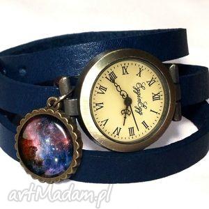 carina nebula - zegarek bransoletka na skórzanym pasku - skórzana
