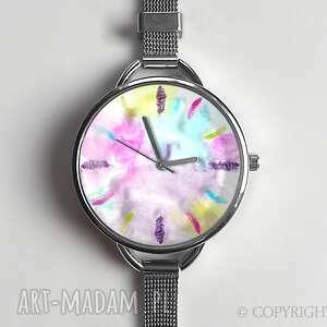 piórka - zegarek z dużą tarczką 0876ws - blureffect, piórka