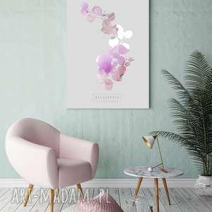 plakaty plakat b2 eukaliptus różowy, wnętrza, wystrój, sypialnia, salon, ściana
