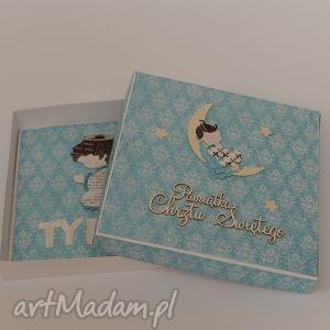 hand made scrapbooking kartki pamiątka chrztu świętego kartka w pudełku