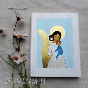 obrazek na chrzest święty - chłopiec, anioł stróż, aniołek dla chłopca, prezent