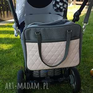 torba do wózka - szary grafit i pudrowy róż, wózek, spacer, niemowlę, dziecko