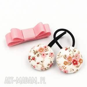 dla dziecka komplet gumeczki i spineczka florence pink, gumeczki