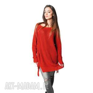 sweter comfort rudy, sweter, tunika, kobiet, długi, wiosna lato