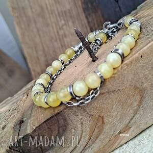ręcznie zrobione opal żółty - bransoletka