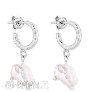 srebrne półkola s z naturalnymi perłami - eleganckie, perły