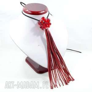 Czerwony skórzany wisior z fasetowanym szkłem, czerwony-naszyjnik, skórzany-naszyjnik