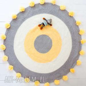dywan pokÓj dzieciĘcy z pomponami 100 cm - dywan, dywanik, dziecięcy, sznurek