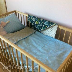 Prezent Pościel do łóżeczka błękitno-szara, pościel, kołderka, łożeczka, kropki