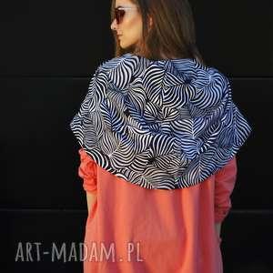ręcznie zrobione bluzy długa bluza oversize z ogromnym kapturem w kolorze koralowym