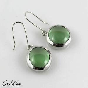 zielone w srebrze - kolczyki 200826-02, kolczyki, klipsy, wiszące, srebrne