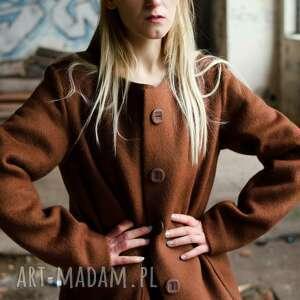 wełniany gruby płaszcz z guzikami, orzechowy, wełna ciepły, zimowy