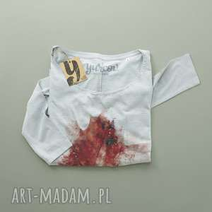 bluzki red leav bluzka z długim rękawem, pocket, oversize, rękaw, kieszonka