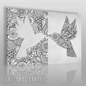 obraz na płótnie - ptak wzory 120x80 cm 59701, ptak, wzory, origami, mandala