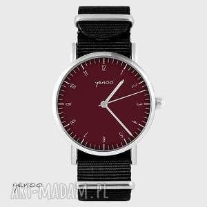 Prezent Zegarek - Simple elegance, bordo czarny, nato, unisex, zegarek, bransoletka