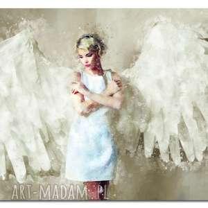 Obraz XXL Anioł 1 beż- 120x70cm design na płótnie, obraz, anioł, kobieta