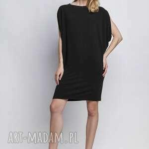 sukienka, suk102 czarny, casual, kimono, tunika, zamek, czarna, prosta