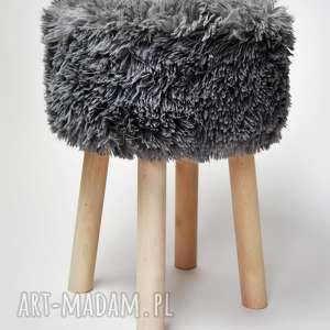 Fjerne L szary futrzak - stołek skandynawskim stylu, stołekskandynawski, puf,