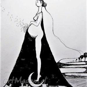 adriana laube art rysunek piórkiem ciąża artystki plastyka adriany laube, kobieta
